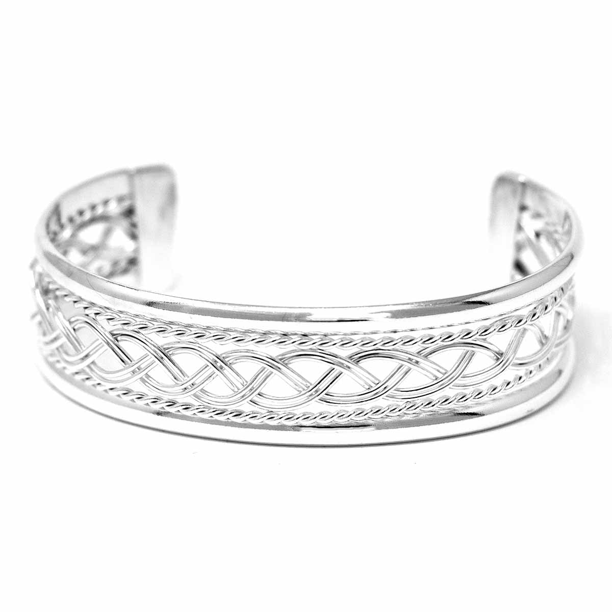 Silver Overlay Cuff Braided Design