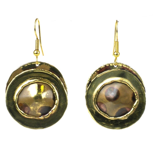 Encircled Spots Brass Earrings