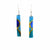 Long Rectangle Glass Dangle Earrings, Blue Earthtones