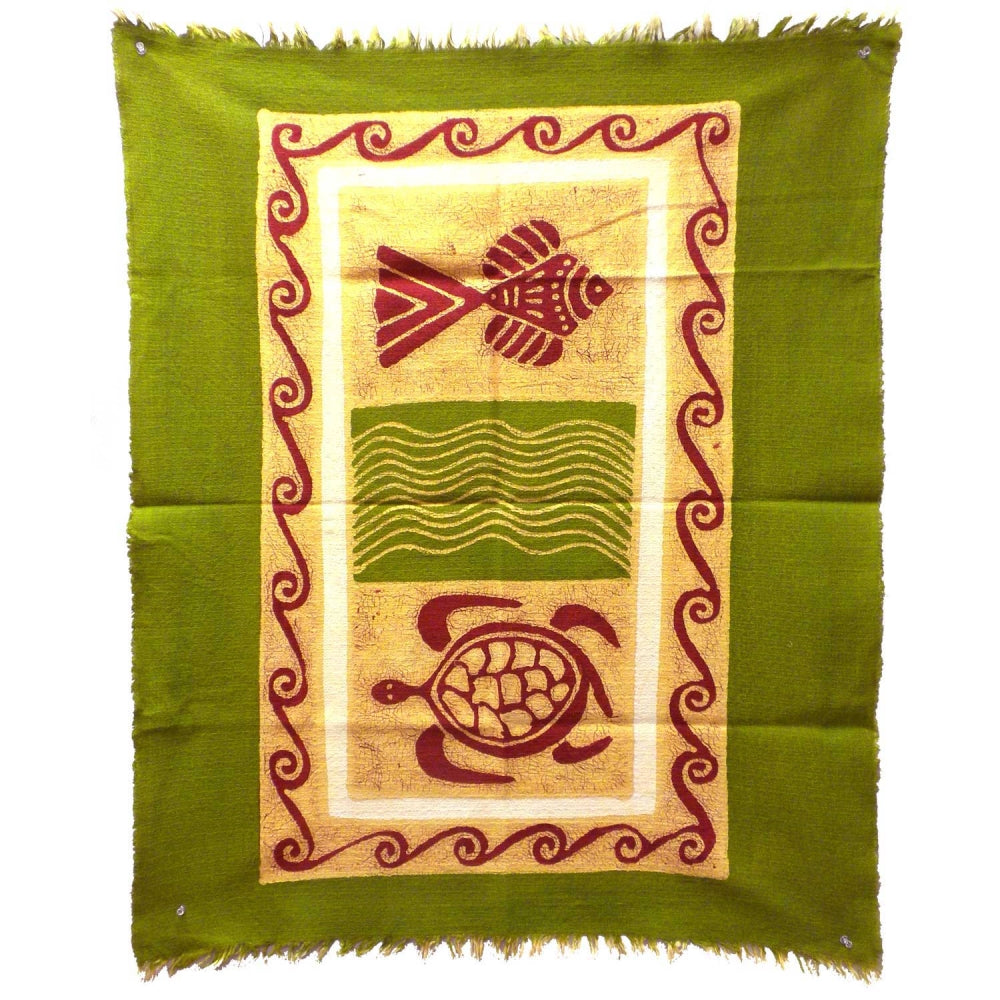 Sea Life Batik in Green/Yellow/Red