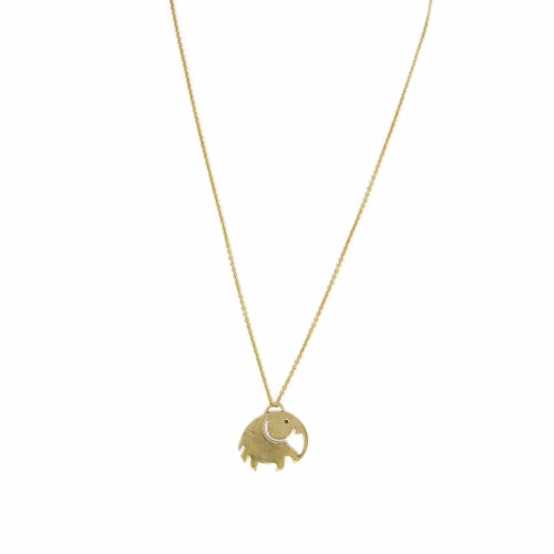 Elephant Pendant Brass Chain Necklace