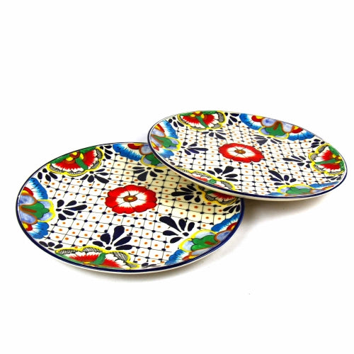 "Encantada Handmade Pottery 11.75"" Set of 2 Dinner Plates, Dots & Flowers"