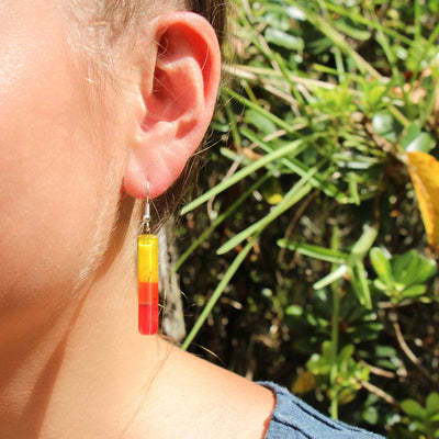 Long Rectangle Glass Dangle Earrings, Fire Red & Yellow