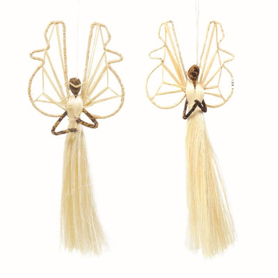 Set of 2 3.5in Sisal Angel Ornaments - Devotional