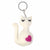 Hand Crafted Felt from Nepal: Key Chain, Heart Cat - Cream