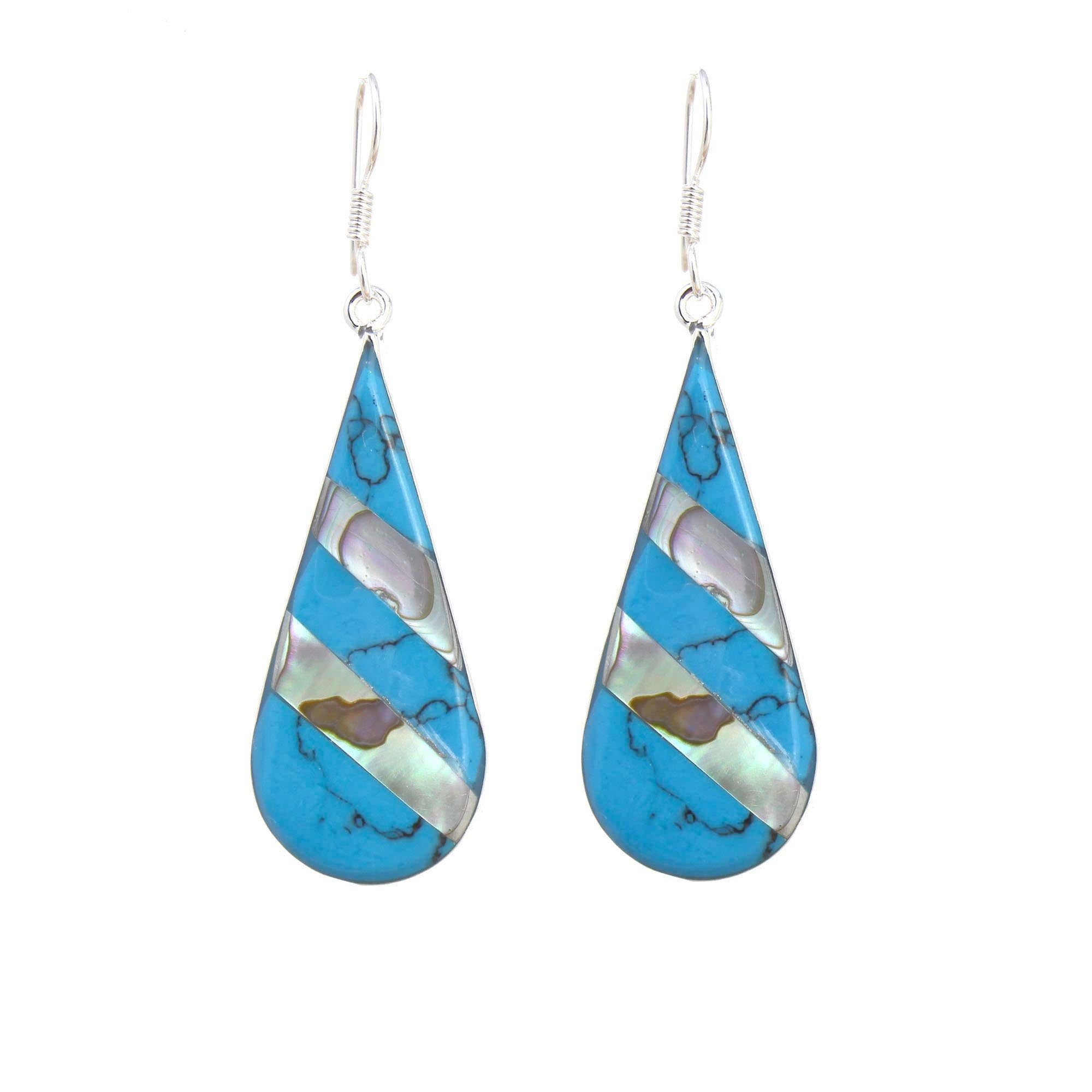 Turquoise & Abalone Stripe Teardrop Earrings