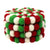 Felt Ball Multicolor Coasters 4pk - White Christmas