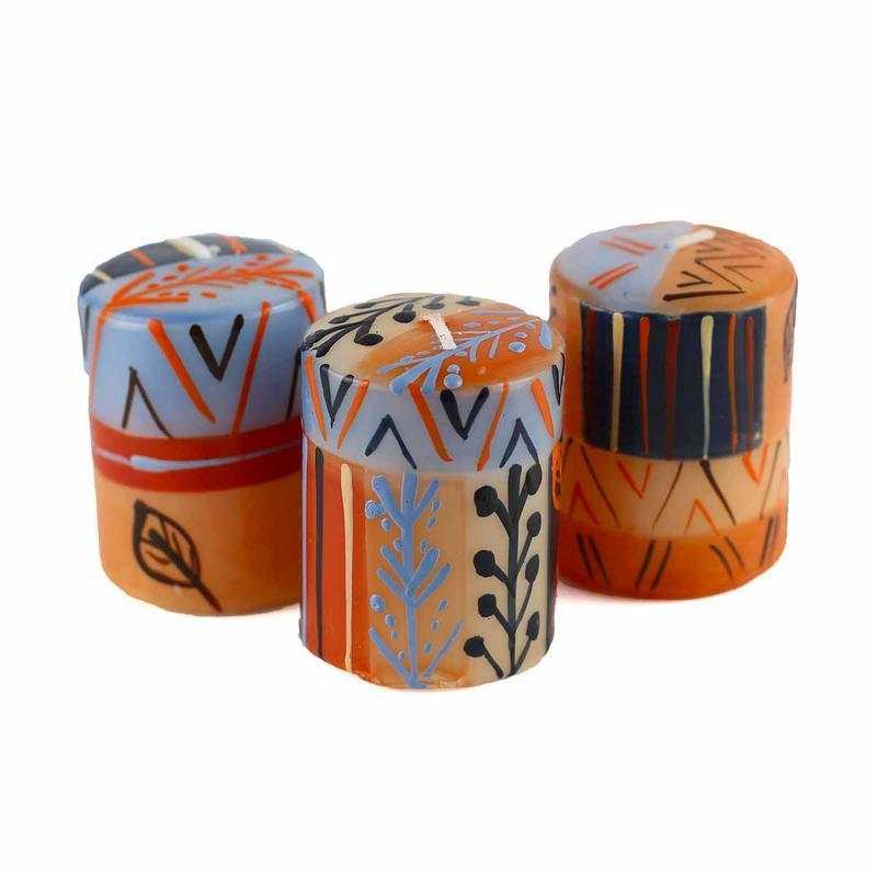 "Hand Painted Candles in ""Uzushi"" Design (box of three)"