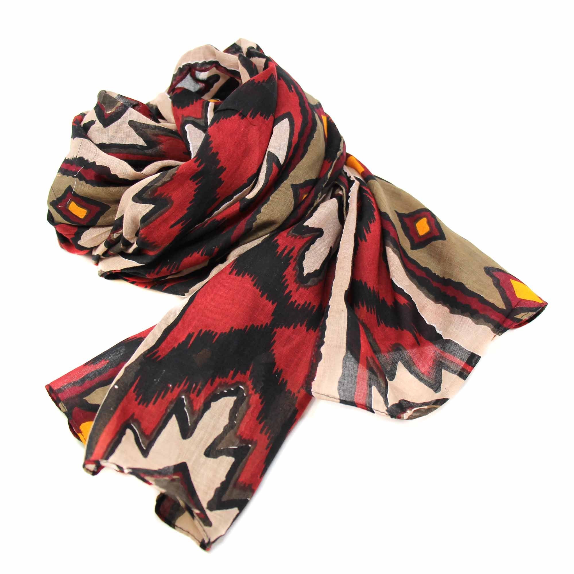 Printed Ikat Diamond Design Cotton Scarf