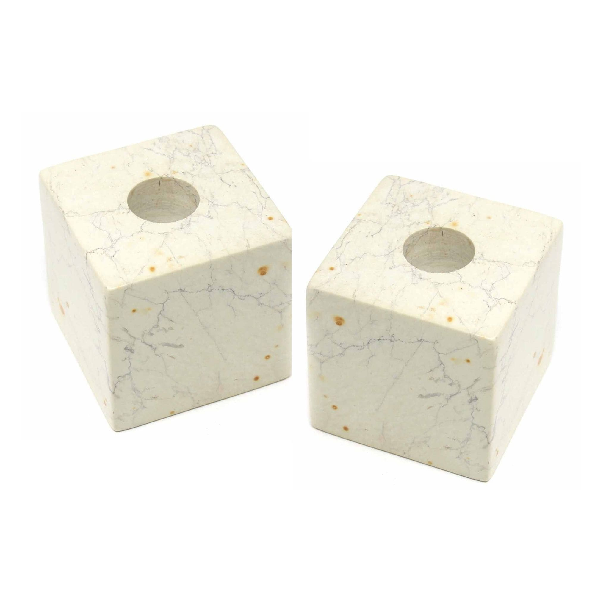 Cube Soapstone Candle Holders, Set of 2