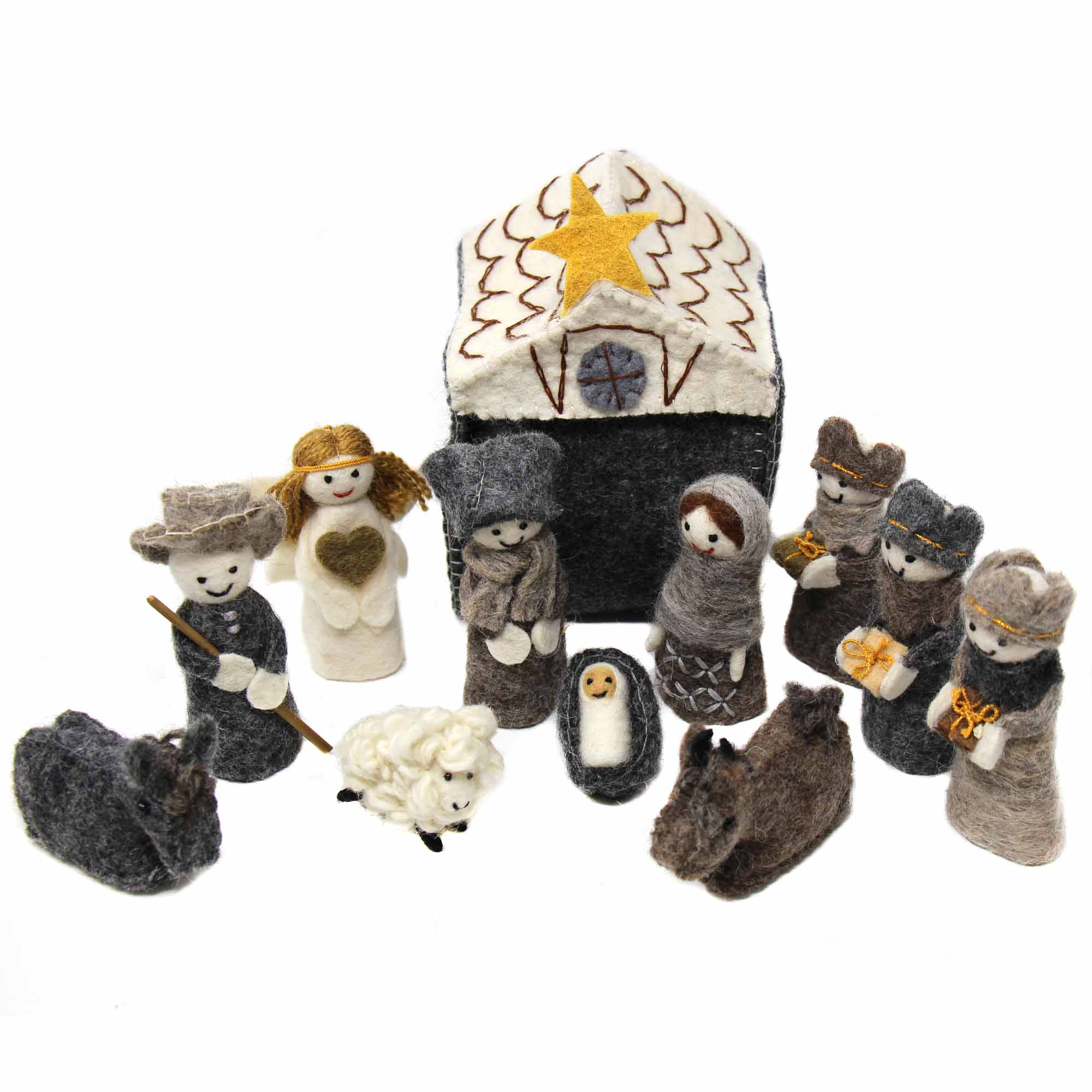 Hand-stitched Felt Nativity Set, 12 Piece Set with Storage