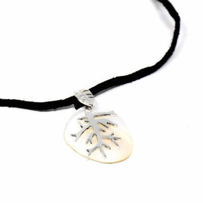 Alpaca Silver Branch Charm over Mother-of-Pearl  Pendant Necklace