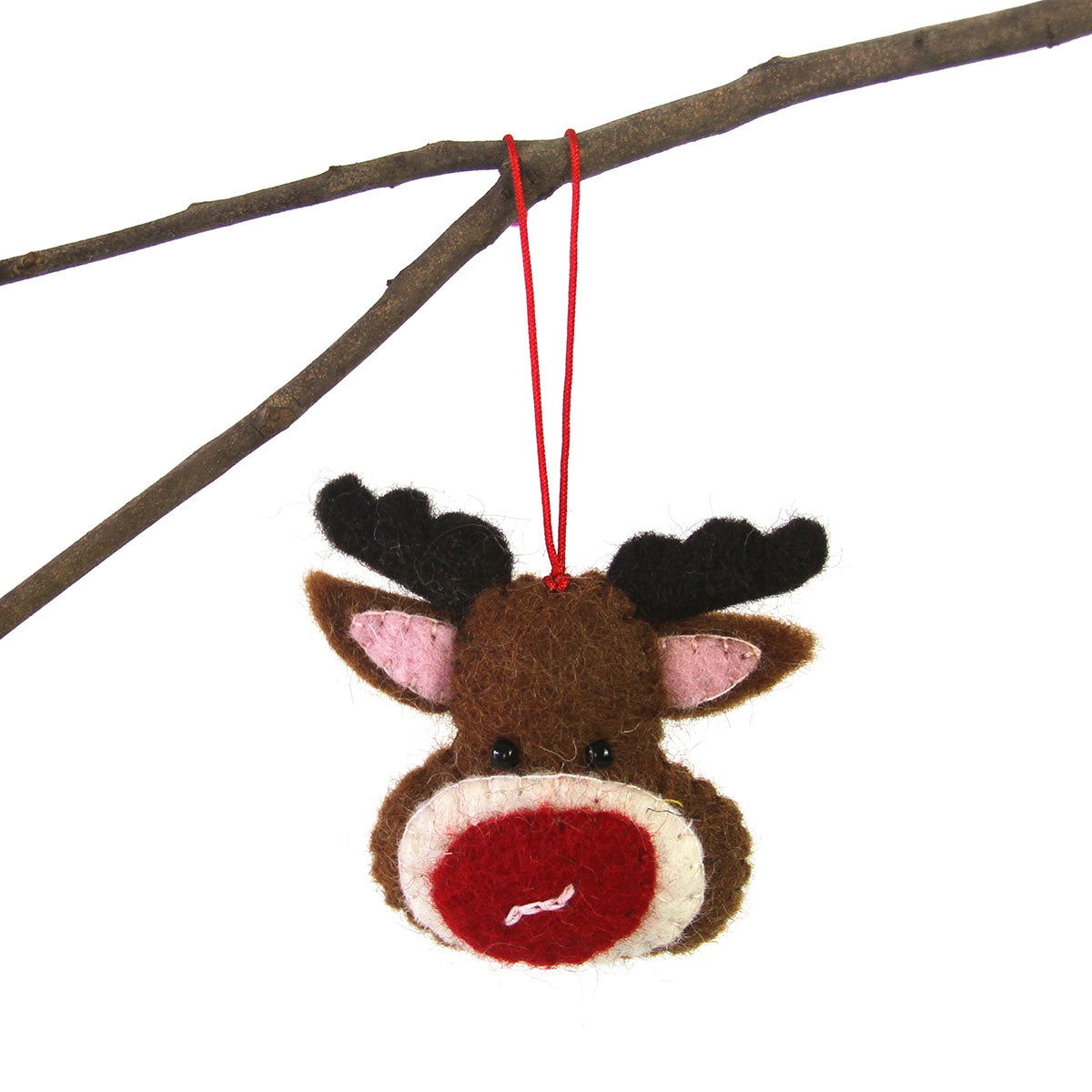 Hand Felted Christmas Ornament: Rudolph