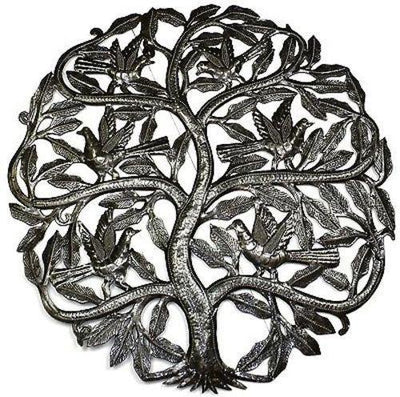 Tree of Life Birds Ready to Fly Metal Wall Art 24-inch Diameter