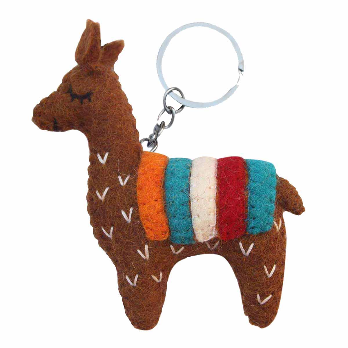 Hand Crafted Felt from Nepal: Keychain, Brown Llama