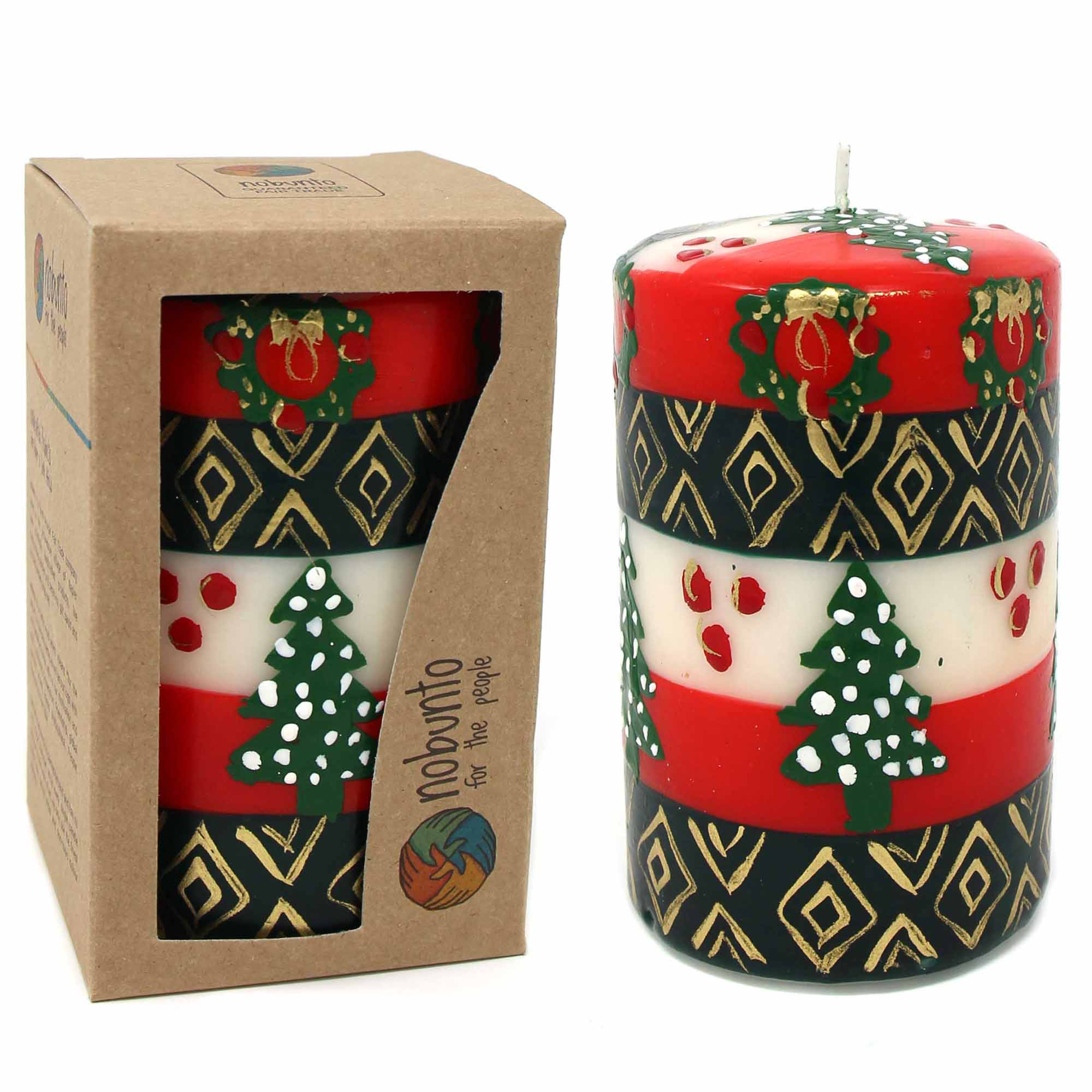 Unscented Christmas Candle, Hand-Painted Pillar in Gift Box, 4-inch (Ukhisimusi Design)