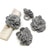 Set of 4 Napkin Rings, Steel Grey Zinnias