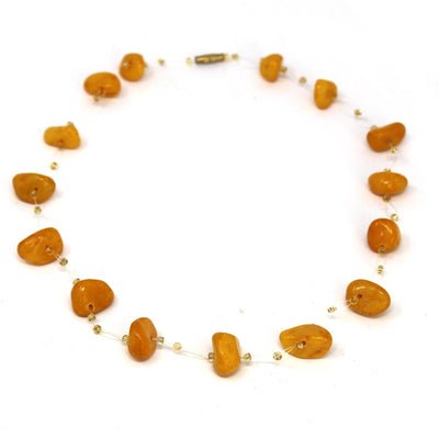 Floating Stone & Maasai Bead Necklace, Rust