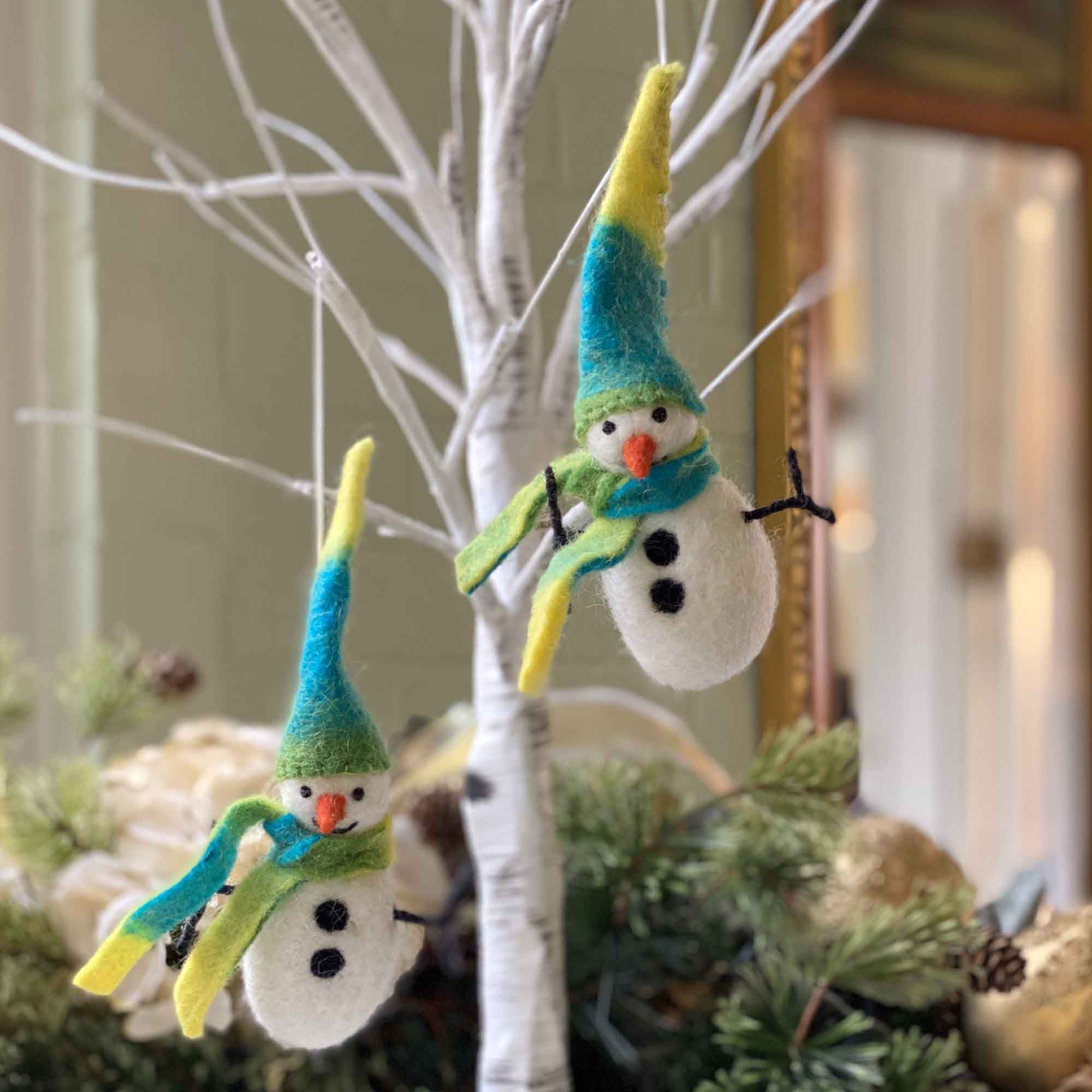 Icy Winter Snowman Felt Ornament, Set of 2