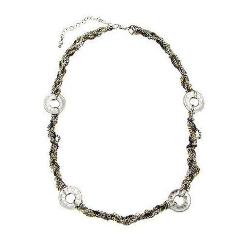 Dotted Disc Metallic Chainlink Necklace