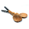 Twisted Olive Wood Salad with Bone Handles 10 inch