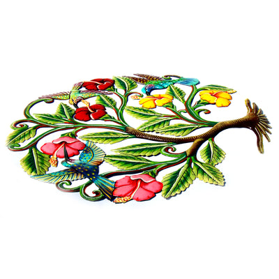 Hummingbirds and Flowers Painted Haitian Metal Drum Wall Art, 24""