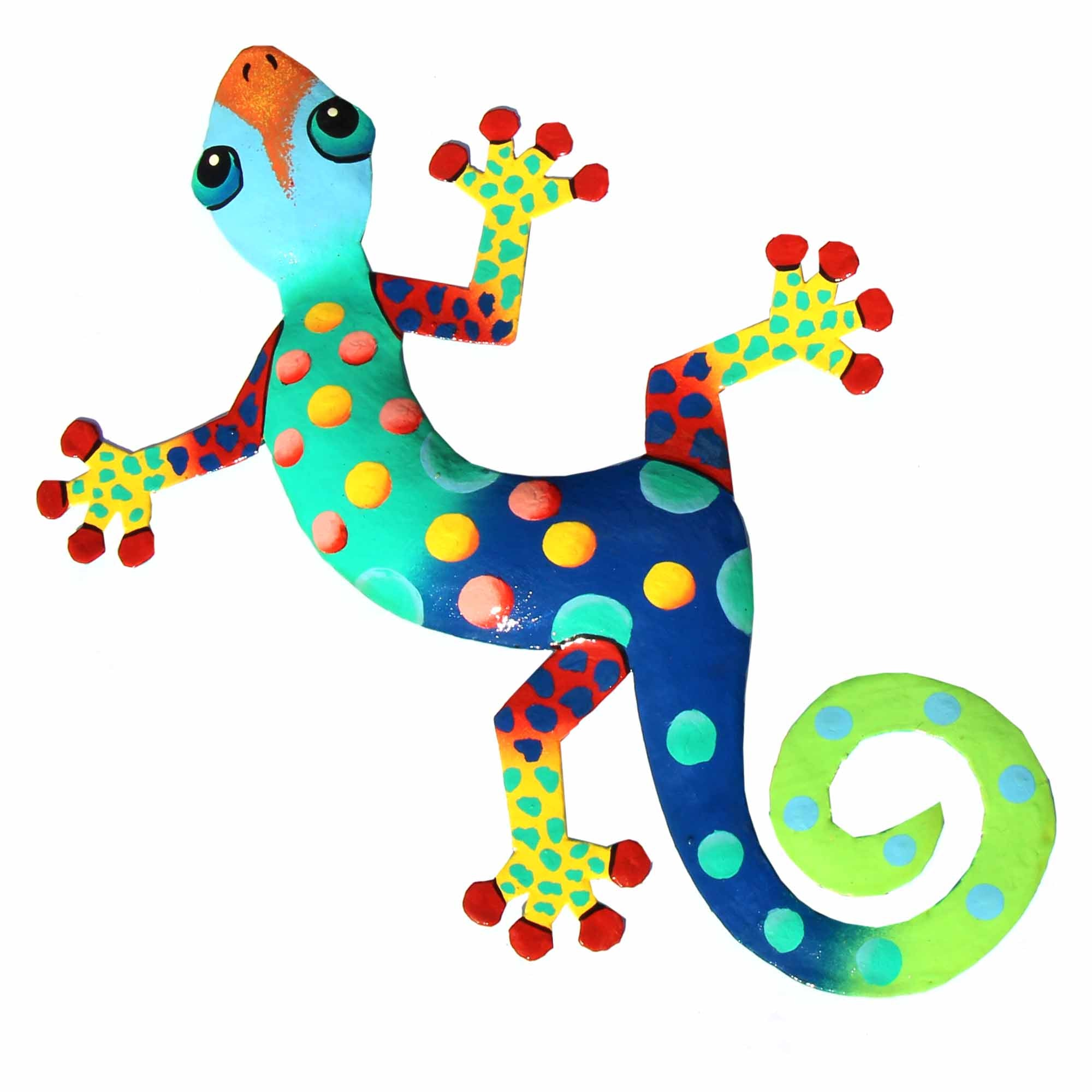 13 inch Painted Metal Drum Art Gecko - Florida Design