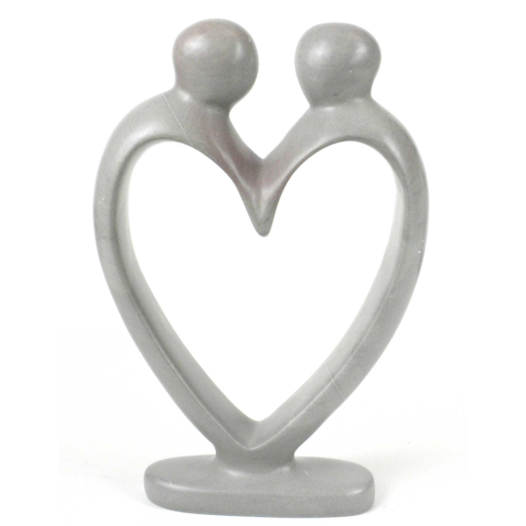 Handcrafted Soapstone Lover's Heart Sculpture in White