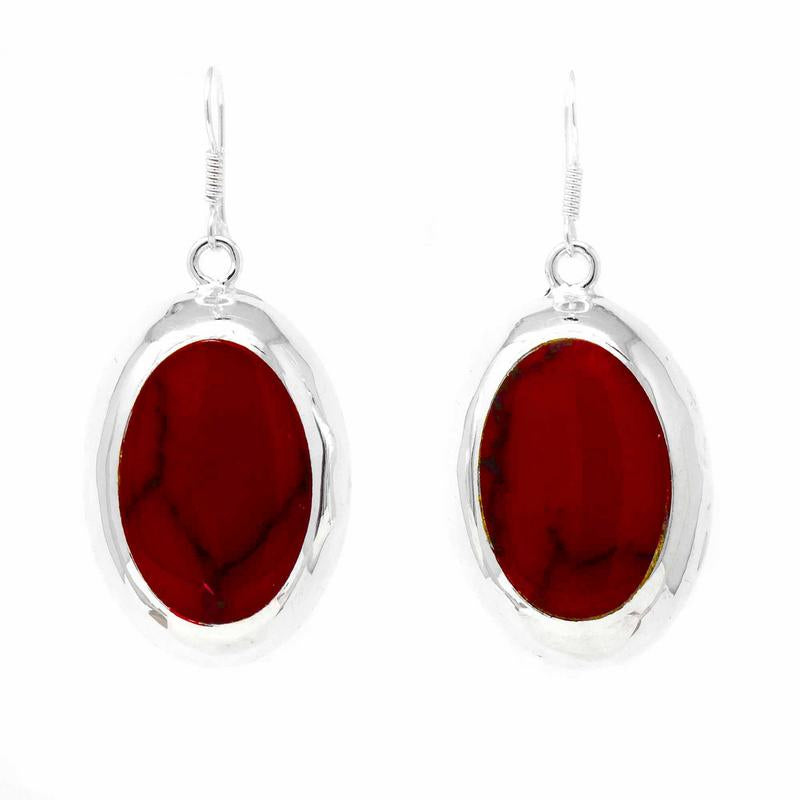 Mexican Taxco Silver Earrings, Red Jasper Ovals