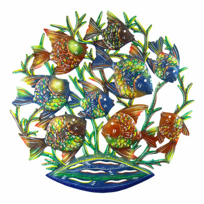 School of Fish Nautical Haitian Steel Drum Wall Art, 24""