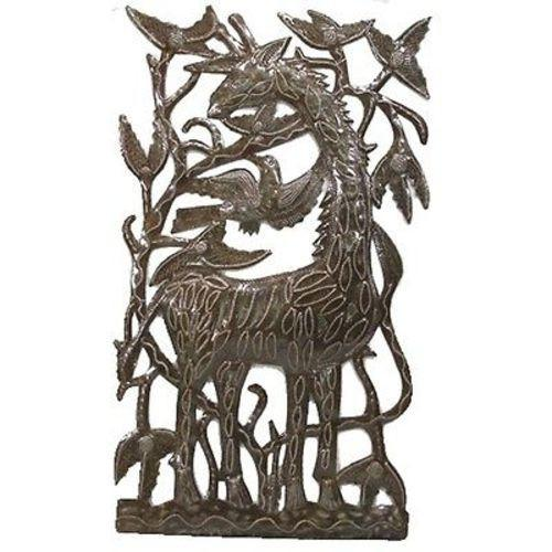 "CLEARANCE Giraffe Square Haitian Steel Drum Wall Art, 18"" x 11"""