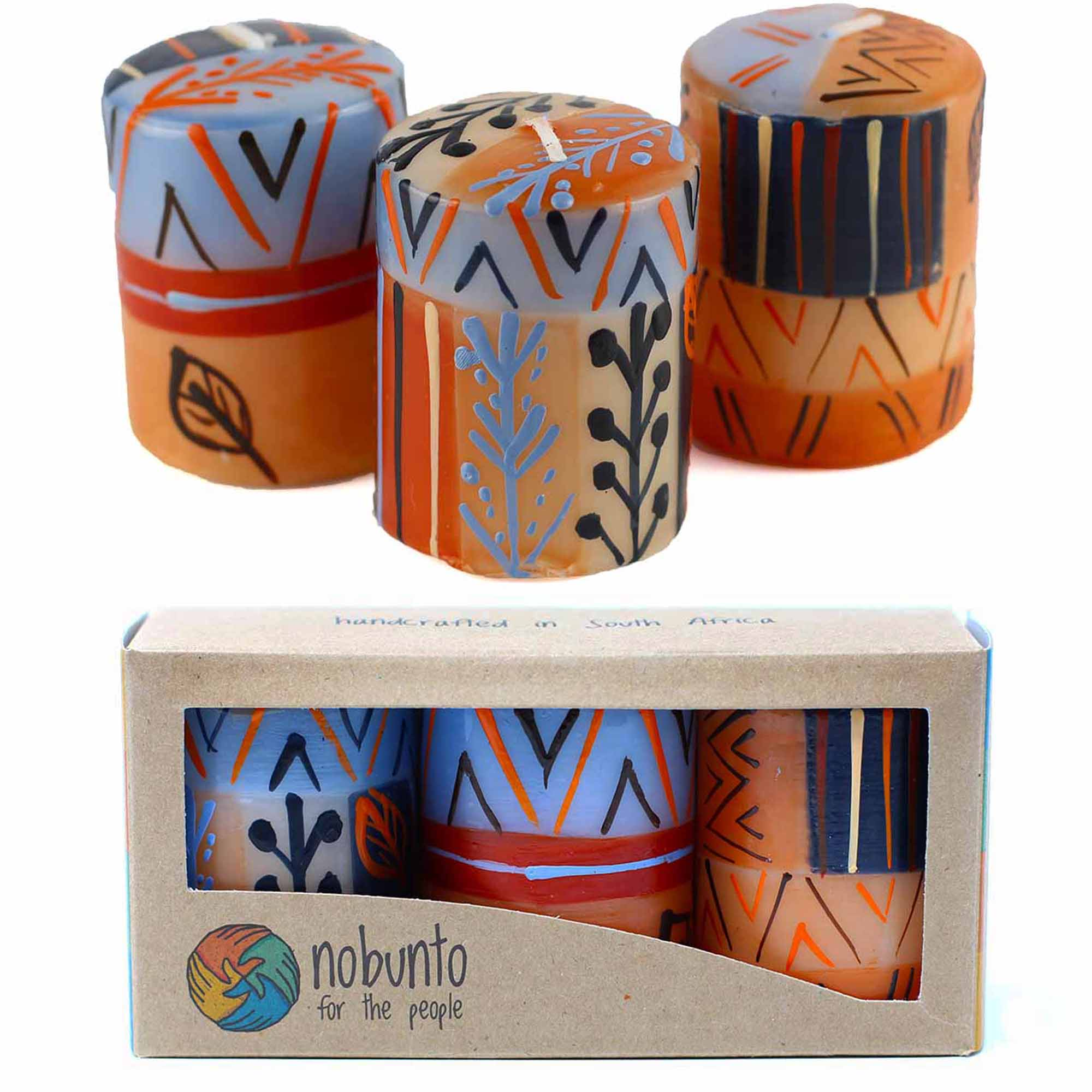 Unscented Hand-Painted Votive Candles, Boxed Set of 3 (Uzushi Design)