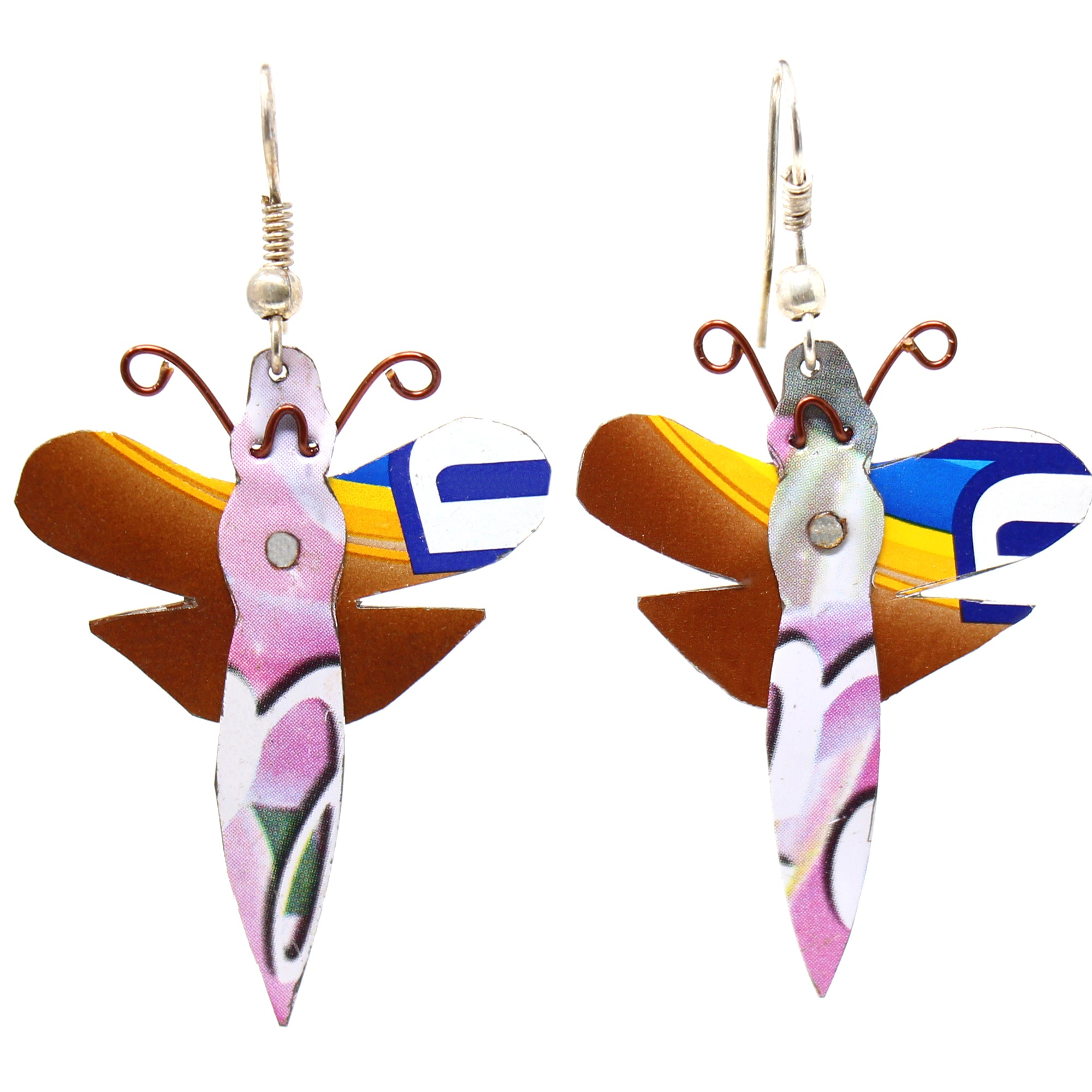 Recycled Tin Dragonfly Earrings with Linen Gift Bag - The Takataka Collection