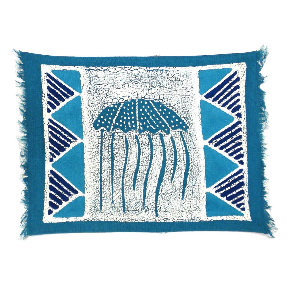 Handpainted Blue Jellyfish Batiked Placemat