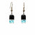 Rectangle Glass Dangle Earrings, Black Tie