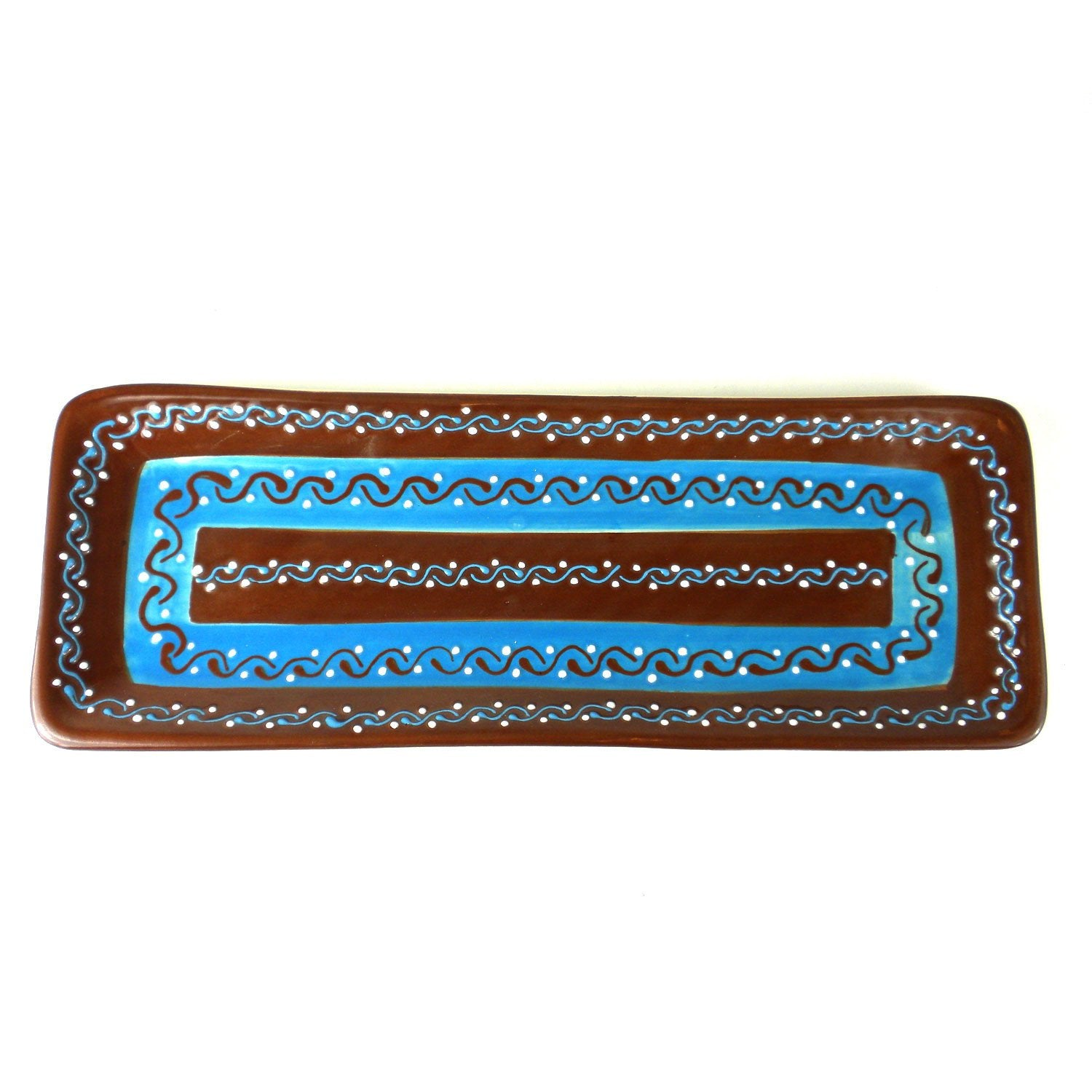 "Encantada Handmade Pottery 16"" Rectangular Serving Platter, Chocolate"