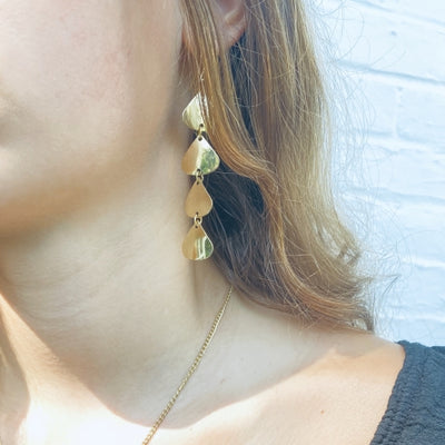 Geometric Tiered Brass Drop Earrings