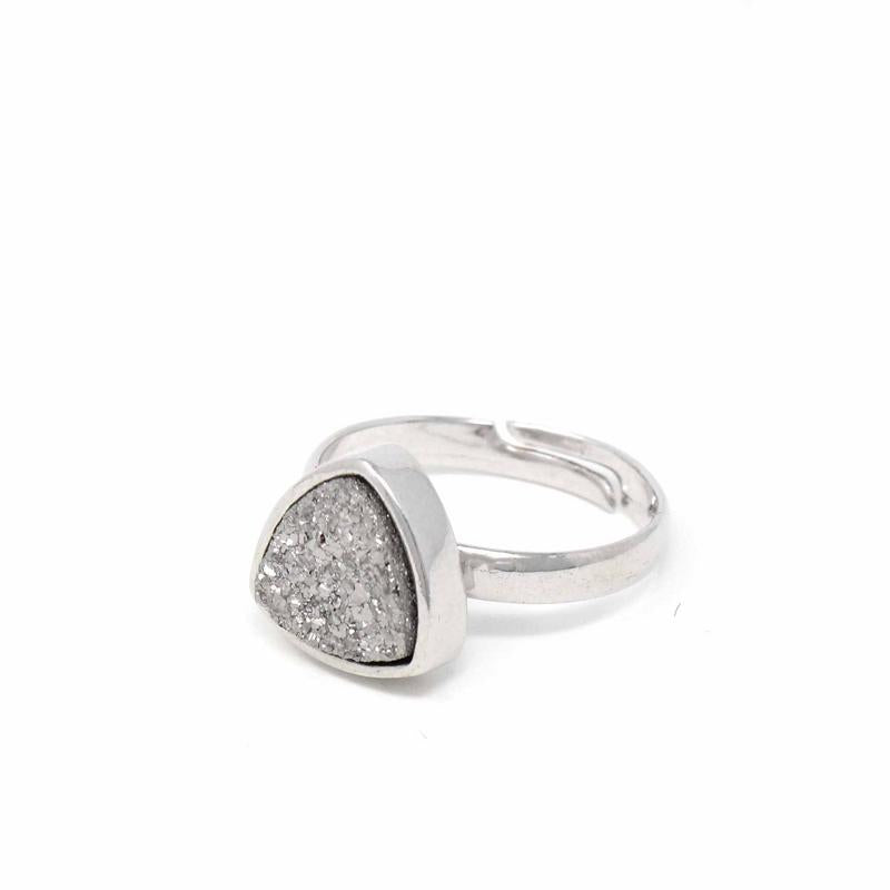 White Gold Druzy Agate Ring