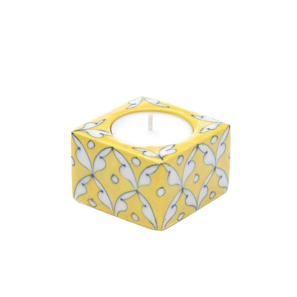 Blue Pottery Tea Light Holder - Yellow