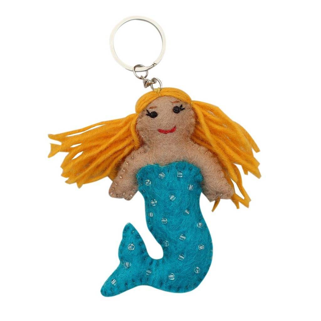 Blue Felt Mermaid Key Chain