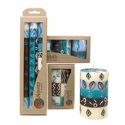 Unscented Hand-Painted Dinner Candles, Boxed Set of 3 (Maji Design)