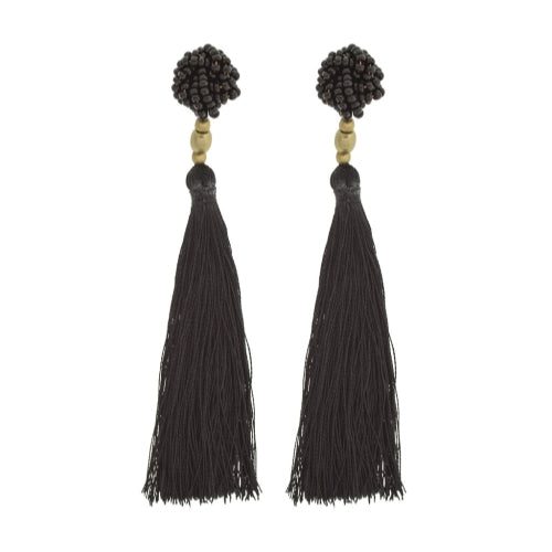 The Rosette Tassel Earring, Black