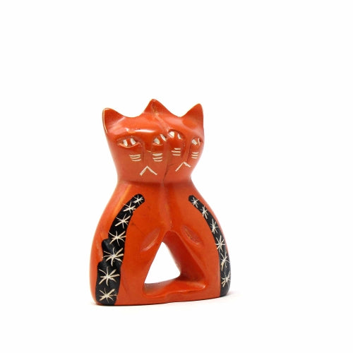 Handmade 4-inch Brick Orange Soapstone Love Cats Sculpture