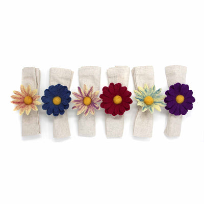 Hand Crafted Felt from Nepal: Set of 6 Napkin Rings, Assorted Daisies for Fall