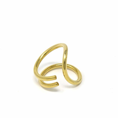 Brass Ribbon Wrap Ring, Size 8