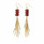 Earrings: Red Jasper and Metal Fringe