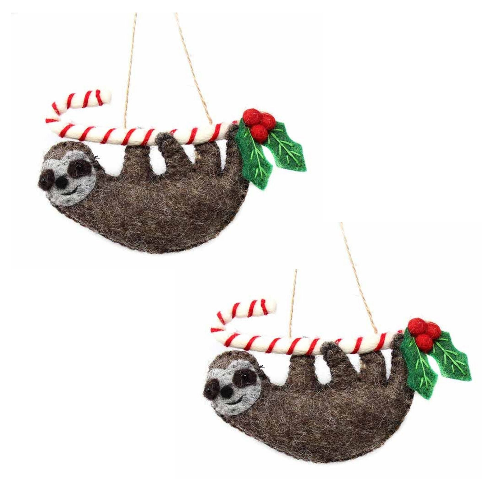 Sloth on Candy Cane Felt Ornament, Set of 2