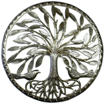 Tree of Life with Two Birds Ringed Haitian Steel Drum Wall Art, 23""