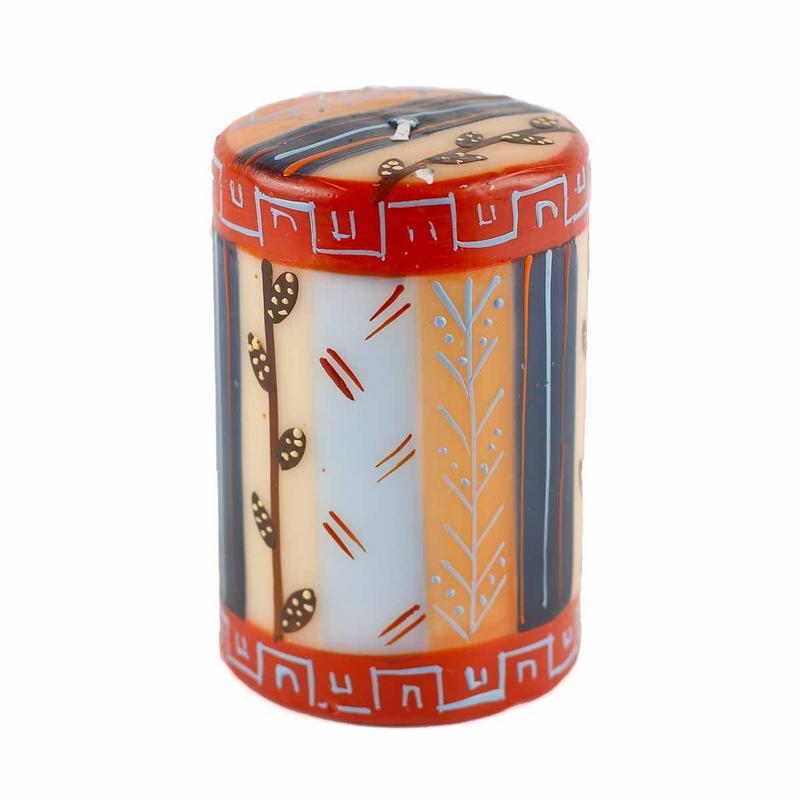 "Hand Painted Candles in ""Uzushi"" Design (pillar)"