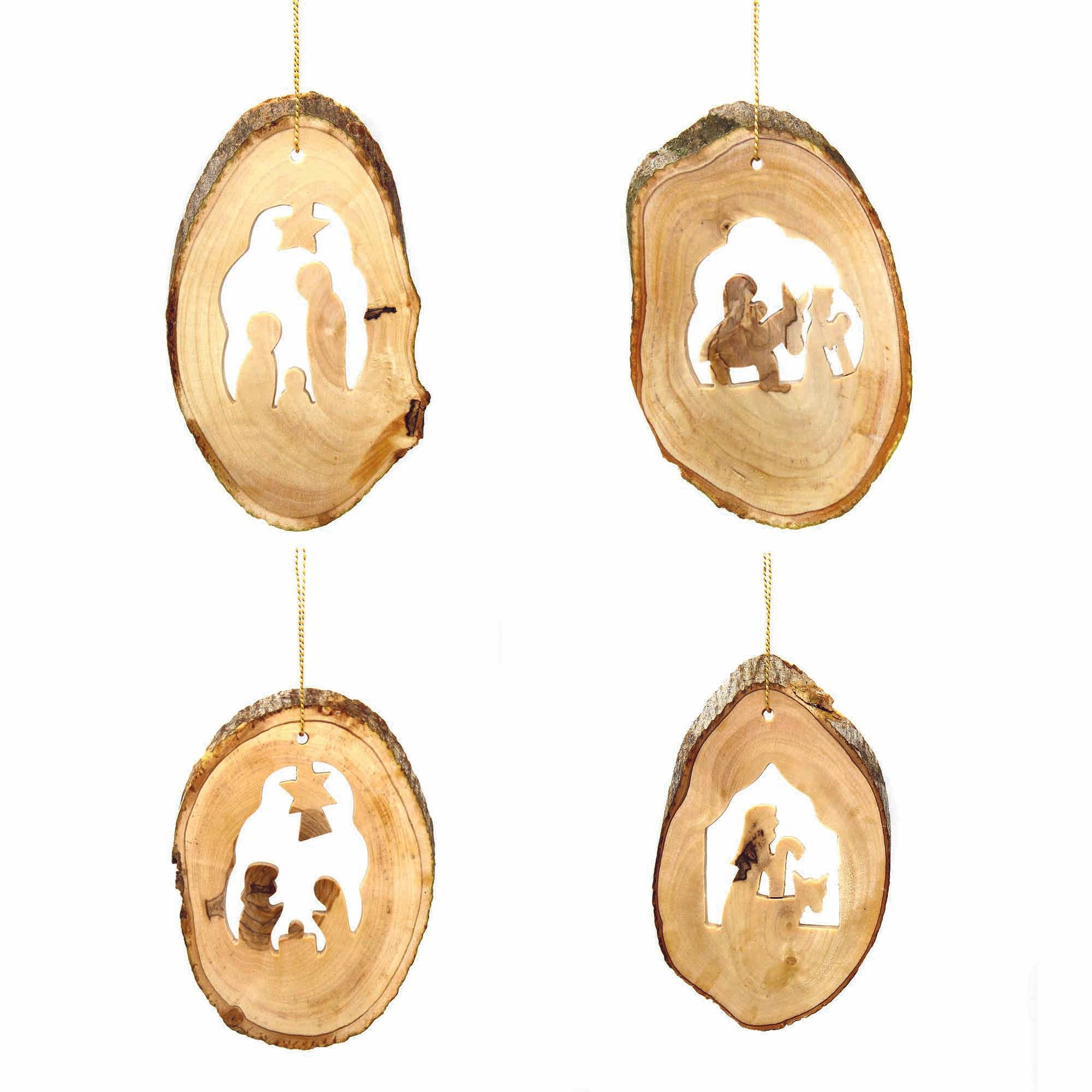 Set of 4 Olive Wood with Natural Bark Ornaments - Nativities